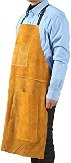 Leather Welding Work Apron - Heat Resistant & Flame Resistant Bib Apron, Flame Retardant Heavy Duty BBQ Apron