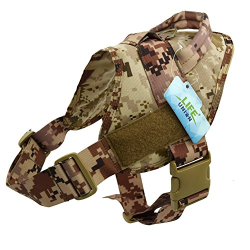 Lifeunion Tactical Dog Vest Nylon Patrol Waterproof K9 Service Dog Vest Harness for Training Hiking Outdoor Sports(AOR1,S)