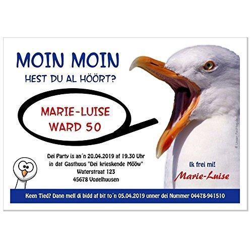 Moderne Einladungen zum Geburtstag 18 20 25 30 40 mit Spruch - cool lustig Wunschtext ändern plattdüütsch - in 2 Größen, 20 Karten - 17 x 12 cm