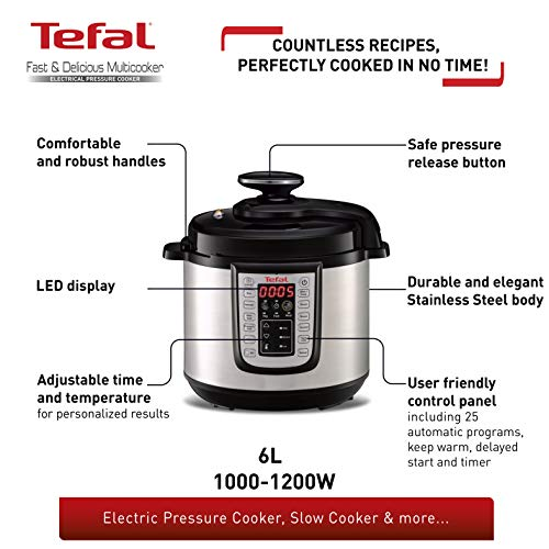 Tefal CY505E40 All-in-One CY505E40 Electric Pressure/Multi Cooker, (6 Portions), Black/Stainless Steel