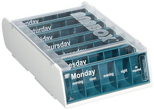 Anabox Wöchentliche Pill Organizer, 7 Tage wöchentliche Medikamente Organizer, täglich Medikamente Erinnerung, 5 Abteile pro Tag, Tablet & Tablettenspender, Schiebedeckel für einfachen Gebrauch, Blau
