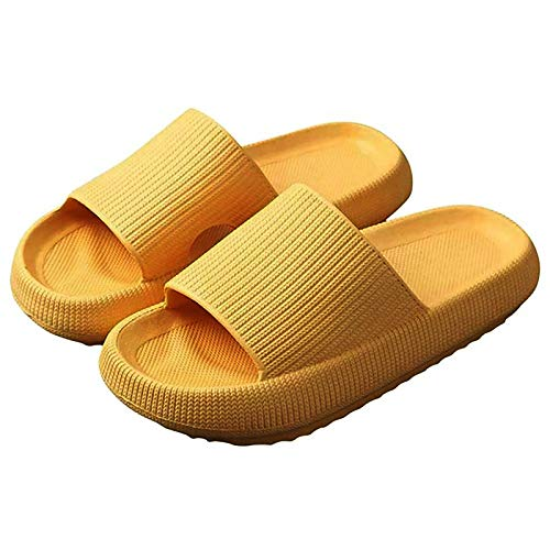 Pillow Slides Sandals,Latest Technology-Super Soft Home Slippers,Universal Quick-drying Thickened Non-slip Sandals,For Women and Men (Yellow, 40-41)
