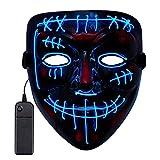 Sinwind LED Purge Maske, The Purge Maske, Halloween Maske LED, Leuchtende Maske, LED Mask mit 3 Blitzmodi für Party Halloween Fasching Karneval Kostüm Cosplay Dekoration (Blau A)