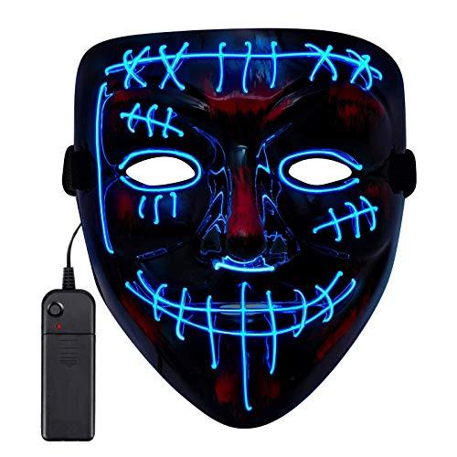 Sinwind Maschere Halloween LED, LED Mask, Maschera Notte del Giudizio, The Purge Mask, Maschera Neon, Maschere Luminose per Halloween Cosplay Feste del Partito Halloween Costumi (Blu A)