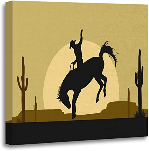 Cowboy Horse Western Canvas Picture Print Wall Art B750
