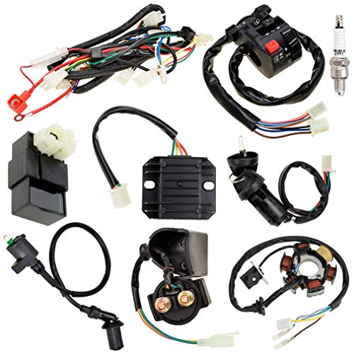 HIAORS Complete electrics all wiring harness wire loom assembly CDI Ignition Coil Rectifier Switch for GY6 4-Stroke Engine Type 125cc 150cc Moped Scooter ATV Quad Go Kart