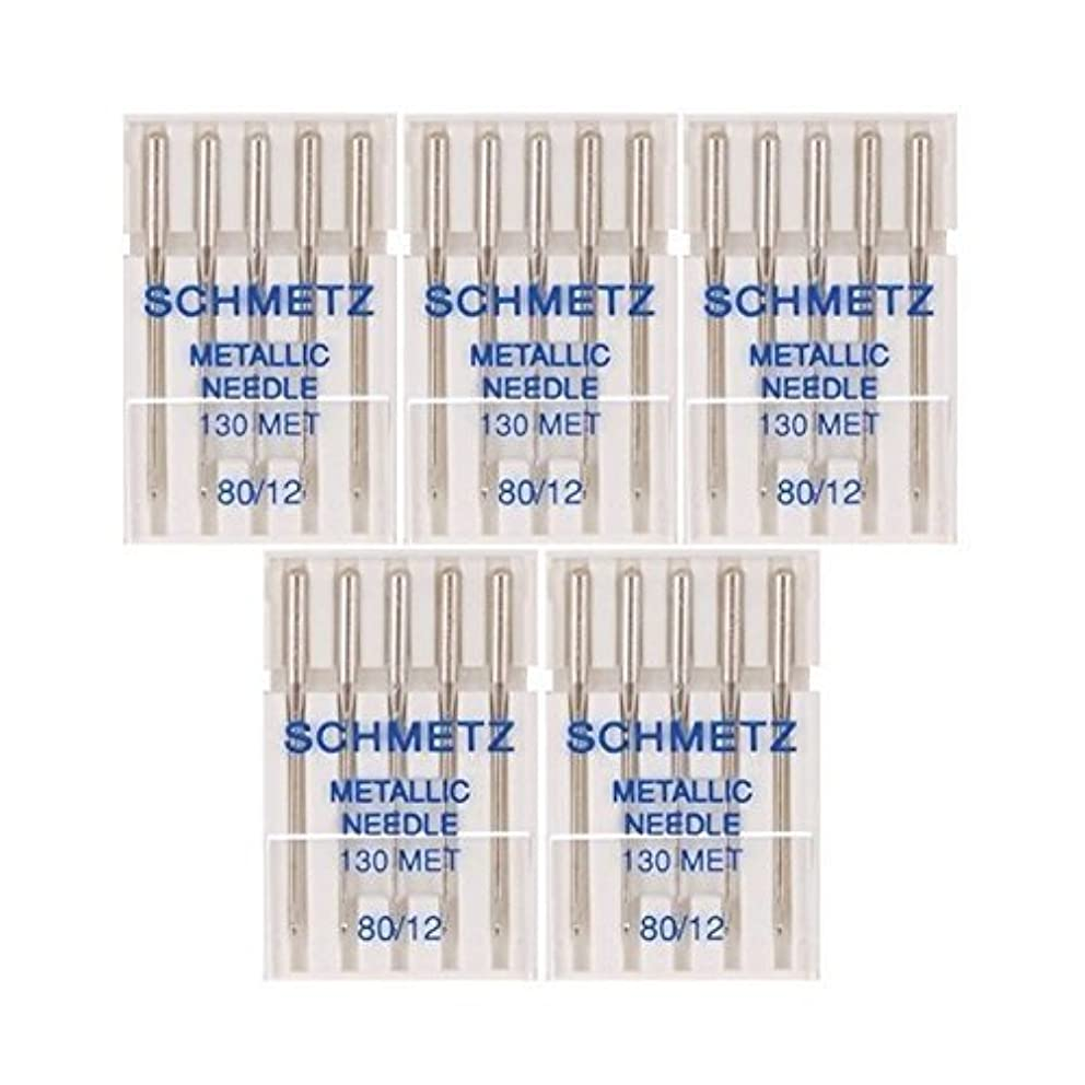25 Schmetz Metallic Sewing Machine Needles 130 MET Size 80/12