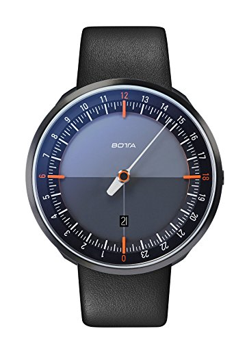 Botta-Design UNO 24 Plus Orange Quarz Armbanduhr - 24H Einzeigeruhr, Edelstahl, Saphirglas Antireflex, Lederband (45 mm, Black Edition)