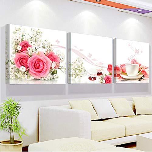 LZLZ 3-teiliges Gemälde-Set, rahmenlose Bilder-Tassen und Rosengemälde auf Druck, Wandkunst, Bilder für Wohnzimmer-Dekoration, 40 x 40 cm
