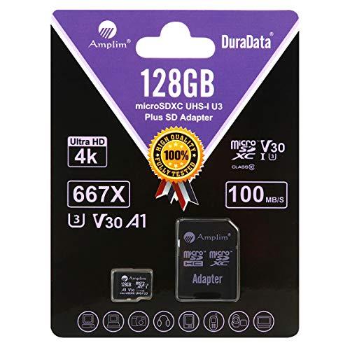 Amplim Micro SD Card 128GB, Extreme High Speed MicroSD Memory Plus Adapter, MicroSDXC SDXC U3 Class 10 V30 UHS-I TF Nintendo-Switch, Go Pro Hero, Surface, Phone Galaxy, Camera Security Cam, Tablet