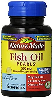 Nature Made Fish Oil Pearls 500 Mg Softgel, 90 Count (Pack of 3 (90 ct ea))