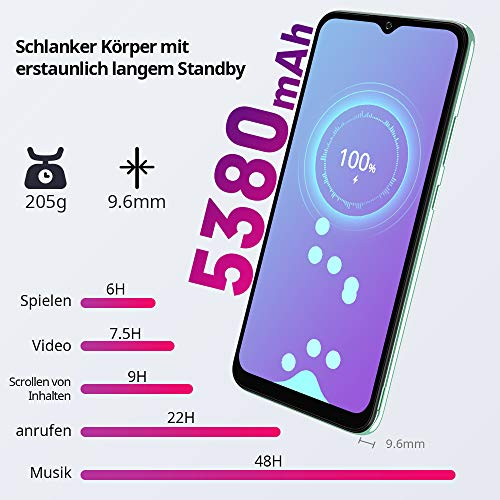 Blackview A70 (E) Smartphone ohne Vertrag Android 11, 6.517 Zoll HD mit 5.380mAh Batterie, 3GB RAM+32GB Speicher Octa-core, 13MP+5MP Kamera, Fingerabdruck Sensor, 4G Handy Dual SIM Grün - 3