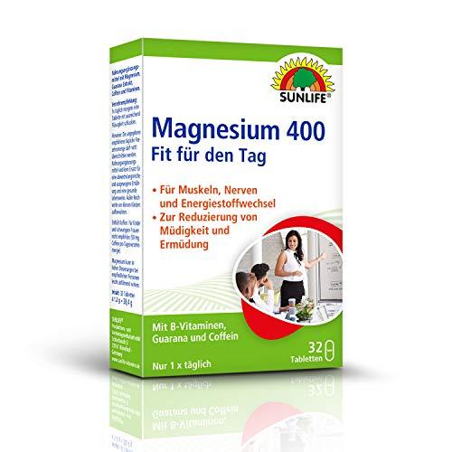 SUNLIFE Magnesium 400 Fit für den Tag: mit B-Vitaminen, Guarana und Coffein, Für Muskeln, Nerven und Energiestoffwechsel, 32 Tabletten