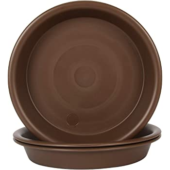 """Plant Saucer 14 inch, Heavy Large Planter Durable Thicker Plastic Plant Trays for Indoors and Outdoor, Plant Saucer Drip Trays,Brown (14"""" - 3 Pack)"""