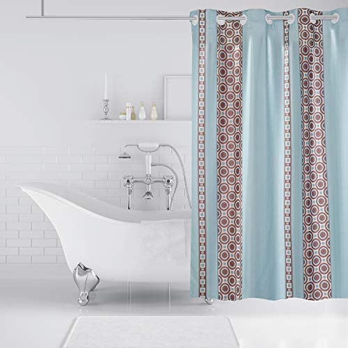 74 in L Lagute SnapHook Essential Hookless Shower Curtain Set | Machine Washable Blue Geometric W by 71 in Removable PEVA Liner