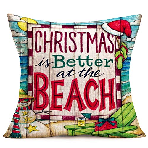 Hopyeer Christmas is Better at Beach Decor Throw Pillow Covers Wood Ocean Merry Christmas Chair Travel Snowman Slipper Xmas Hat Pillowcase Cotton Linen Home Sofa Car Cushion Cover 18'x18'(CB-Merry)