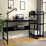 Computer Desk with 4 Tier Storage Shelves - 41.7'' Student Study Table with Bookshelf Modern P2 Wood Desk with Steel Frame for Small Spaces Home Office Workstation Black