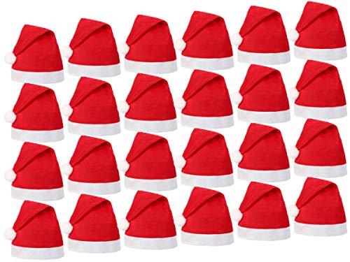 Alsino Weihnachtsmütze 24 Stück (wm-32) ∙ Nikolausmütze für Erwachsene und Kinder ∙ 30 x 40 cm ∙ Reissfest und Dehnbar ∙ Passend für jeden Kopf