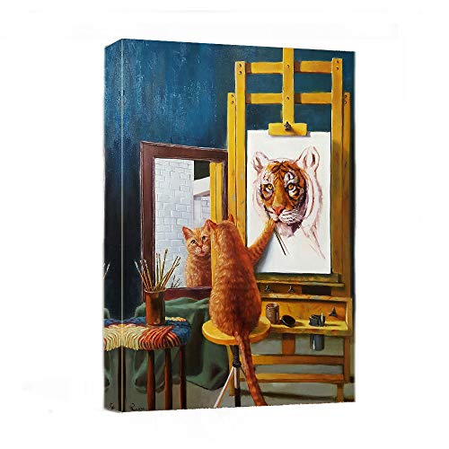 Canvas Wall Art - Funny Cat Paint Tiger Painting Print-12' x 16' Modern Animal Canvas Print Artwork Stretched and Framed for Home Office Decor