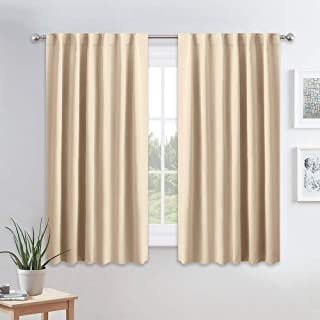 PONY DANCE Kitchen Window Curtains - Light Block Home Decor Back Tab and Rod Pocket Draperies Heavy-Duty Thermal Insulated Curtain Panels, W 52 x L 45 Inches, Biscotti Beige, 2 Pieces
