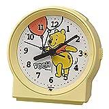 リズム(RHYTHM) 置き時計 イエロー 9.6x9.2x5.5cm くまのプーさん 目覚まし時計 連続秒針 電子音 アラーム 8RE671MC33