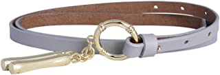 Damara Noble Metal Buckle Skinny Waist Belt Genuine Leather Dress Cinch