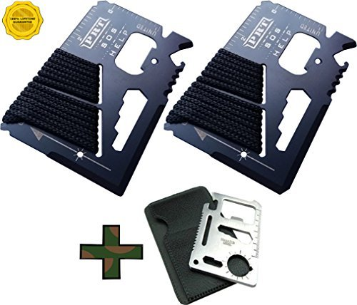 Survival Multi Tool 2Pk- RumbaDock Survival Gear Tools 14-1 Credit Card Multitool with Bonus Camping Tool- Best SAS Survival Kit Multi-tool- Ideal for Fishing Survival Kit Multitool: by RumbaDock
