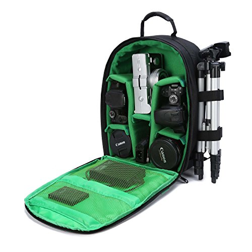 DSLR Camera Backpack Bag with Rain Cover / Tripod Holder for DSLR Cameras , Lenses, Tripod and Accessories (Green, Small)