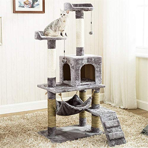 Krabpaal Cat Tower Cat klimrek Met Kat Nest en Hangmat, Cat Tower Furniture Kitten Play House (Kleur: Grijs, Maat: 60X40X140CM) 8bayfa (Color : Gray, Size : 60X40X140CM)
