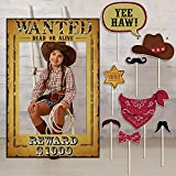 9 Pieces West Wanted Photo Booth Prop Kit...