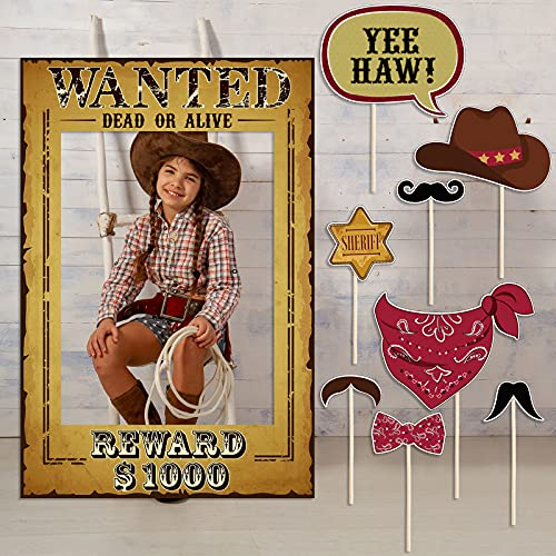 9 Pieces West Wanted Photo Booth Prop Kit Cowboy Party Decoration Cowboy Theme Photo Booth Prop Set Wild Western Selfie…