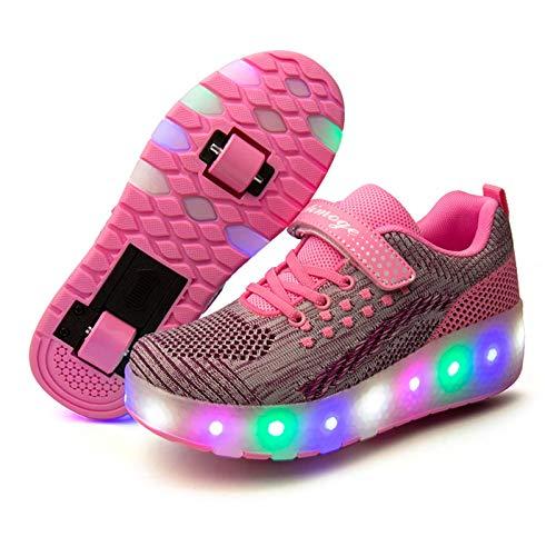 Niña Niño Luces LED Zapatos de Skate con Ruedas, Ajustable Rueda Roller Luces LED Zapatos de Skate con Ruedas Removable, USB Recargable Skate Zapatillas Doble Rueda Patines de Roller Ajustable para