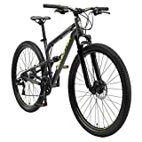 BIKESTAR Bicicleta de montaña de Aluminio Suspensión Doble Completa 29 Pulgadas | Cuadro 17.5' Cambio Shimano de 21 velocidades, Freno de Disco, Fully MTB | Negro