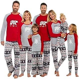 SISAY Pigiami Famiglia Coordinati Natale Pigiama Orso Blu Tuta 2 Pezzi
