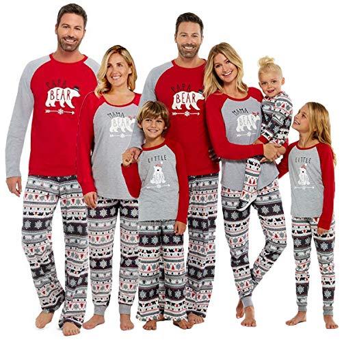 Loalirando Pigiama Famiglia Natale Famiglia Set Mamma papà Bambino da Pigiama 2 Pezzi Top Maglia a Manica Lunga+Pantaloni Pigiama Cotone Stampa Orso Divertenti