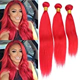 Brazilian Bright Red Human Hair Weave Bundles Silky Straight 3Pcs Lot Pure Red Color Straight Virgin Remy Human Hair Weaves Colored Red Double Weft Extensions 10-30' Mixed Length (24 24 24)
