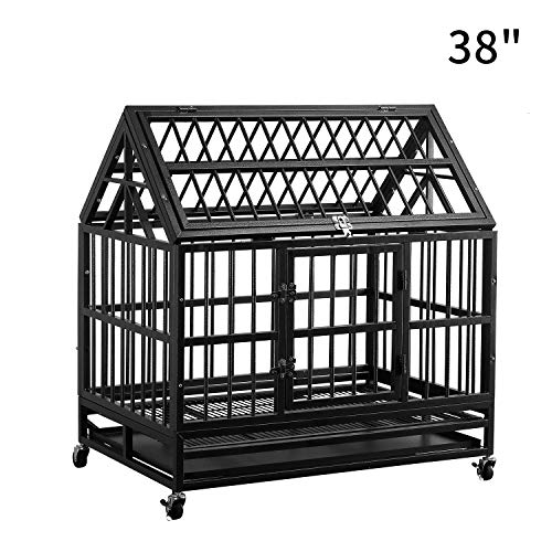 PUPZO Heavy Duty Dog Cage Crate Kennel Strong Metal with Four Wheels and Roof for Large Dogs Easy to Assemble (38'' roof) Kennels