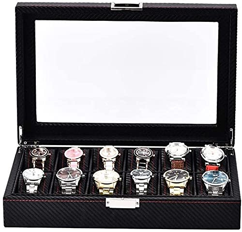 Caja de reloj 12 Caja de almacenamiento de reloj Cubierta de vidrio Reloj de visualización Soporte de fibra de carbono PU Caja de almacenamiento de reloj de fibra de carbono