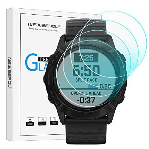 NEWZEROL 4 stück Kompatibel für Samsung Galaxy Watch 4 44mm / Garmin Fenix 6X Pro Sapphire/Solar Edition 51mm Panzerglas Schutzfolie, 2.5D Arc Edges 9H Glas Bildschirmschutz Anti-Kratzer blasenfrei Folie