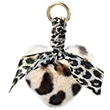 Portachiavi a forma di cuore in pelliccia sintetica leopardo con stampa animale bianco M