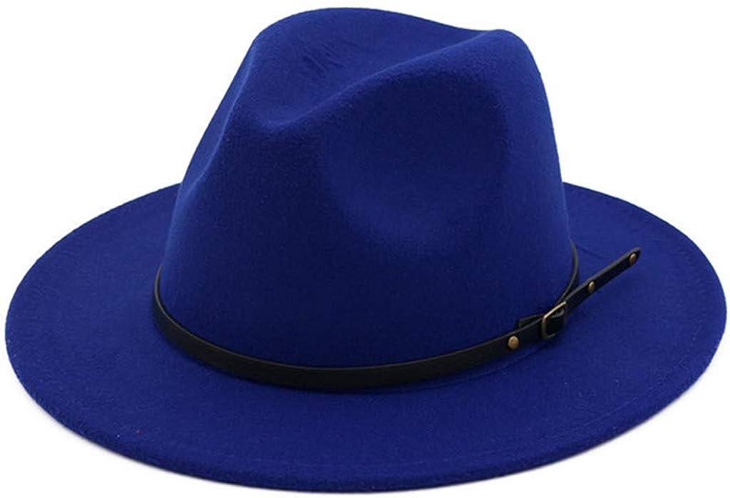 Women's Wide Brim Fedora Panama Hat with Metal Belt Buckle Wool Felt Retro Style Classic Vintage Panama Hat
