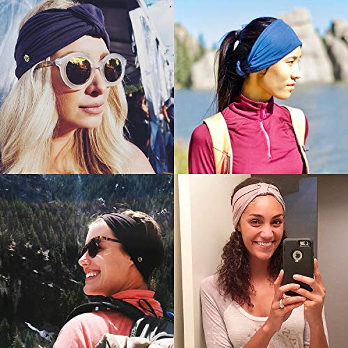 BLOM Original Multi Style Women's Headband. Wear Wide Turban Thick Knotted and More. for Yoga Fashion Workout Running Athletic Travel. Superior Comfort and Style. (Taupe)