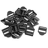Sourcingmap Plástico Correa Escalera Deslizante Hebillas Traba 25mm 20 Piezas Negro