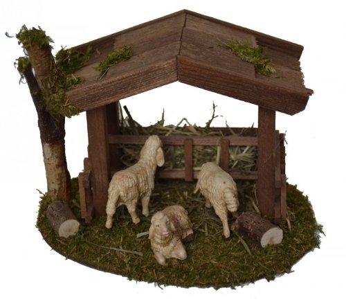 KLB Krippenzubehör Krippenstall Krippenset UNTERSTAND mit 3 Schafen Weihnachtskrippe