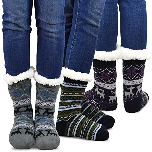 Teehee Womens Soft Premium Thermal Double Layer Crew Socks 3-Pack (9-11, Deer)
