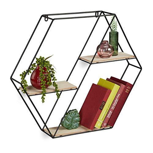 Relaxdays Hexagon Regal mit 3 Ablagen, Holz und Metall, Wandmontage, Deko Wandregal, HxBxT: 51x59x11 cm, natur/schwarz
