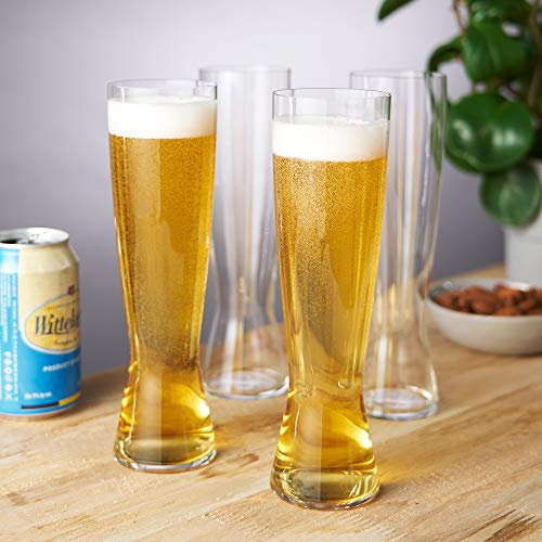 Spiegelau Classics Tall, Set of 4 European-Made Lead-Free Crystal, Modern Beer, Dishwasher Safe, Professional Quality Pilsner Glass Gift Set, 15 oz, Clear