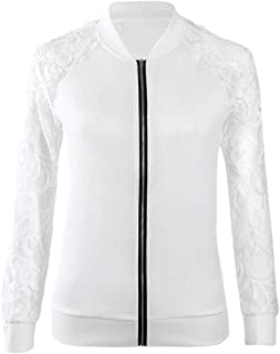Women Casual See Through Lace Patchwork Zip Front Jacket Short Coat