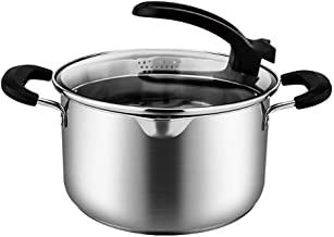 SHYPT Stainless Steel Capsulated Bottom Sauce Pan with Glass Lid, Induction Ready, Dishwasher Safe