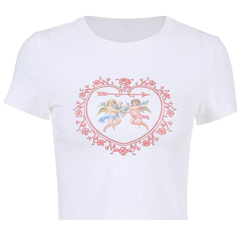 general3 Women Short Sleeve Shirts Fashion Print Crewneck Short T-Shirt Blouse Crop Top
